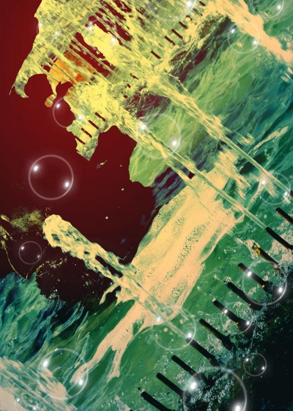 Des bulles de lumière éclatantes colorent les eaux