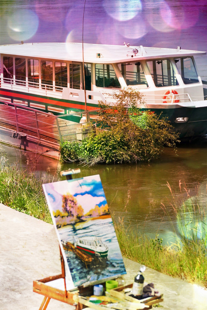 La promenade en bateau se diffuse par la peinture