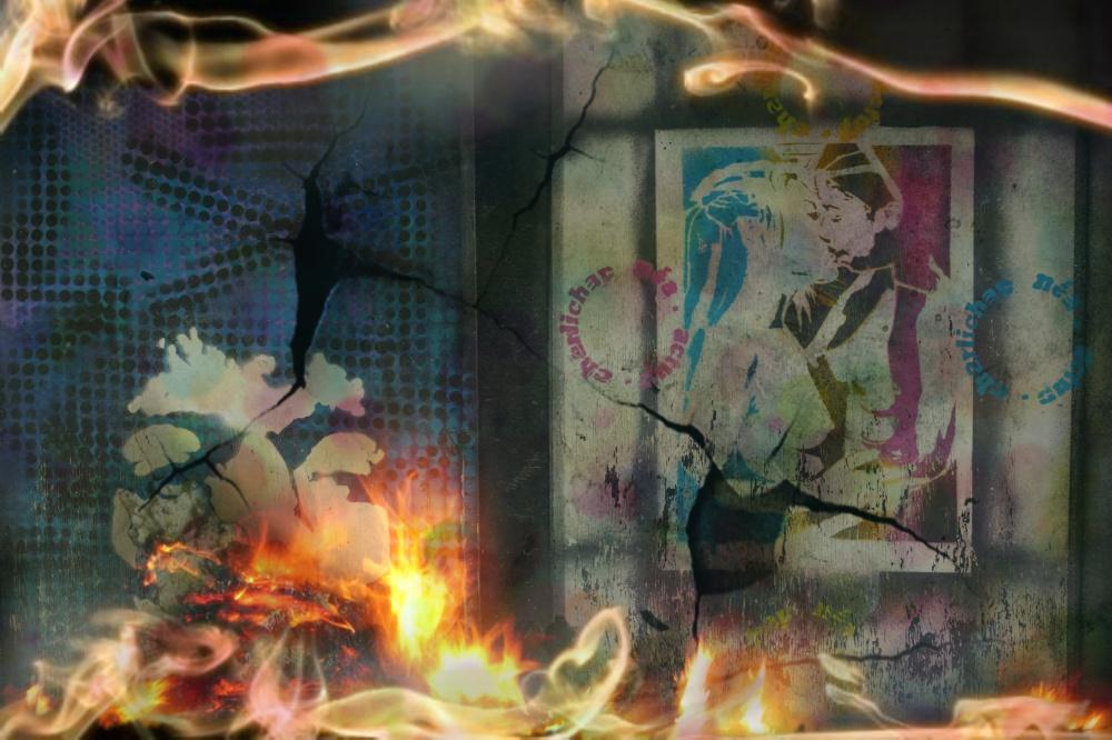 Baiser brûlant où le coeur brûle d'amour...