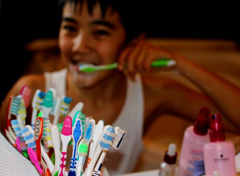 brushing & smiling