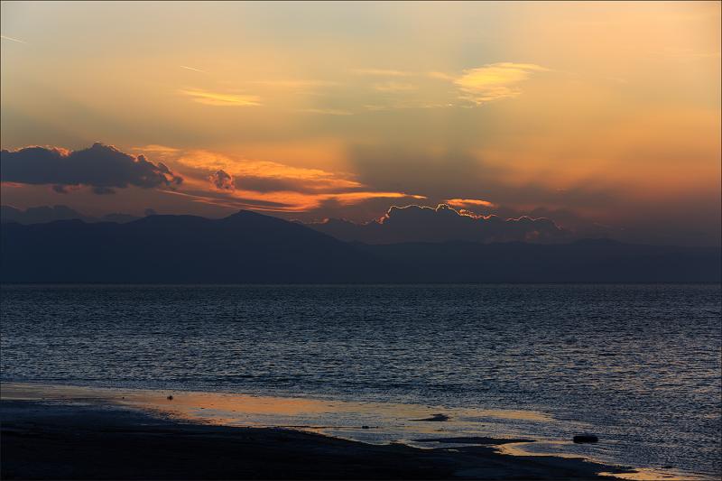 Sunset on the salt lake