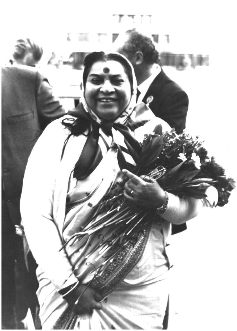 Shri  Mataji with Flowers 1