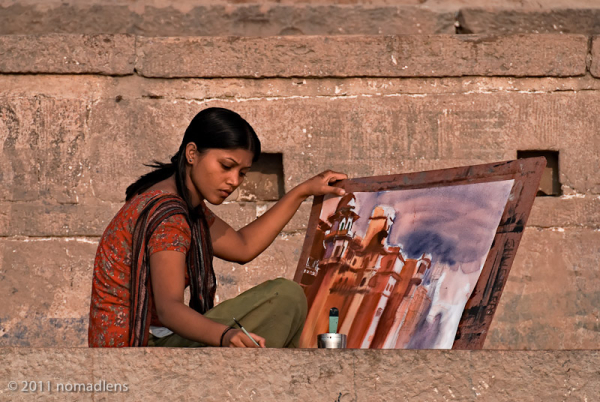artist on the ghats at Varanasi, Uttar Pradesh