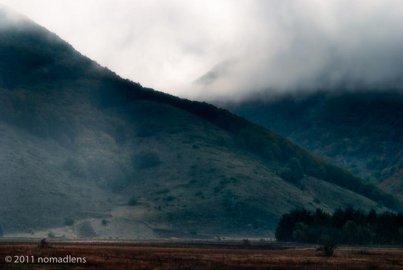 Rainy hills near Rocca Pia, Abruzzo