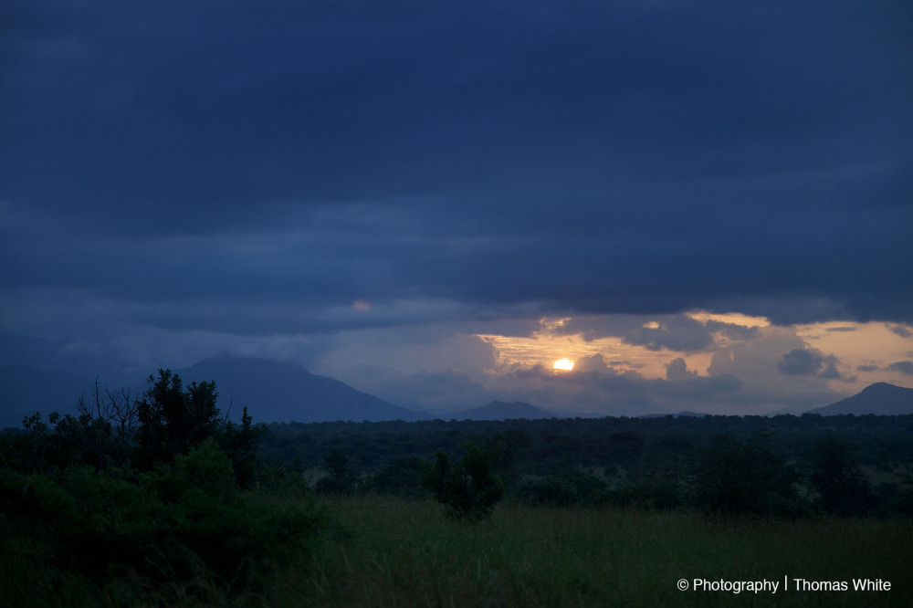 The Sun rising behind Mt Morongole