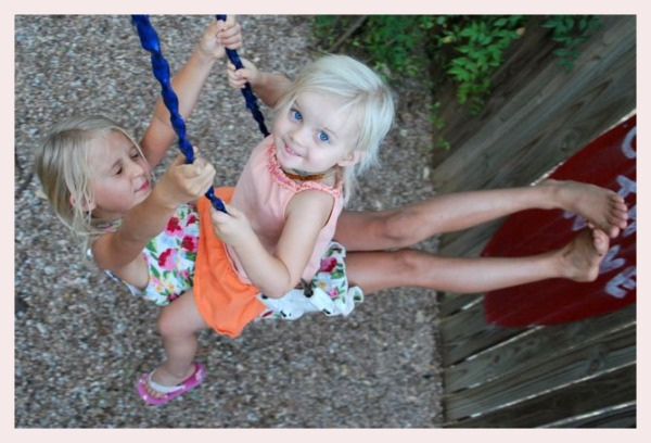 The girls spider swinging