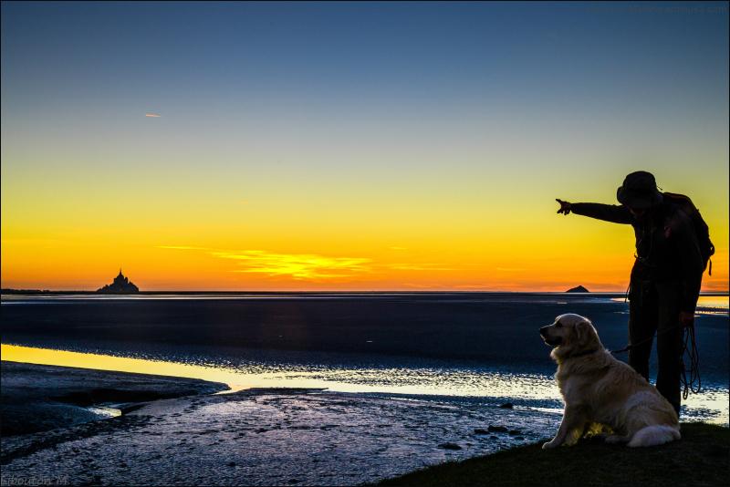 Greetings from France  Le Mont Saint-Michel  a donné à son tour son nom à la baie du mont Saint-Michel, elle aussi classée au patrimoine mondial de l'Unesco.  La baie du Mont-Saint-Michel est le théâtre des plus grandes marées d'Europe continentale, jusqu'à 15 mètres de marnage, différence entre basse et haute mers. La mer rejoint ensuite les côtes « à la vitesse d'un cheval au galop », comme le dit l'adage.