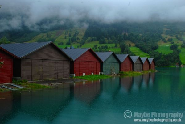 Boat houses in Olden, the Norwegian Fjords.