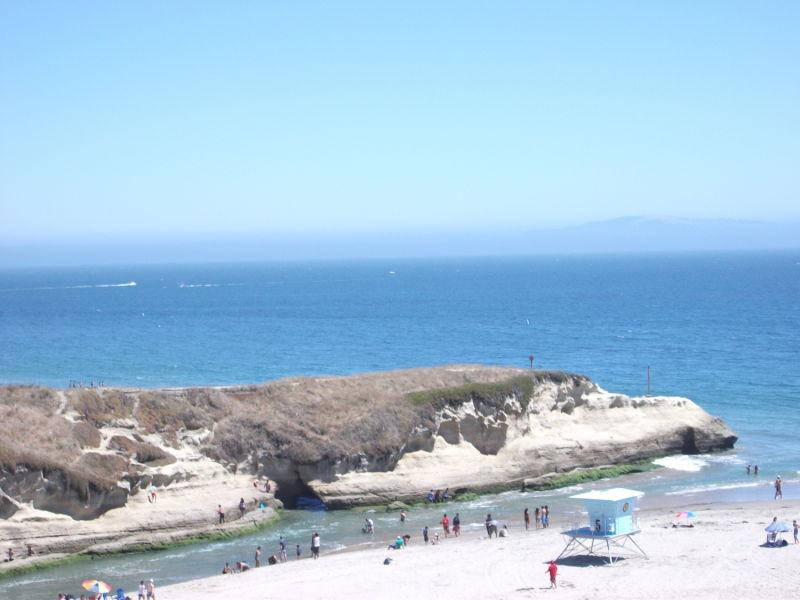 Santa Cruz beach in the hot midday sun.