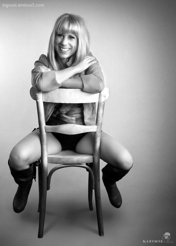 Zuzana on the chair.