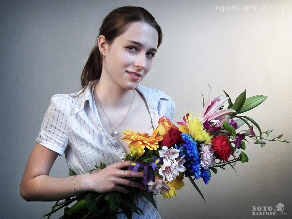 Veronika with flowers