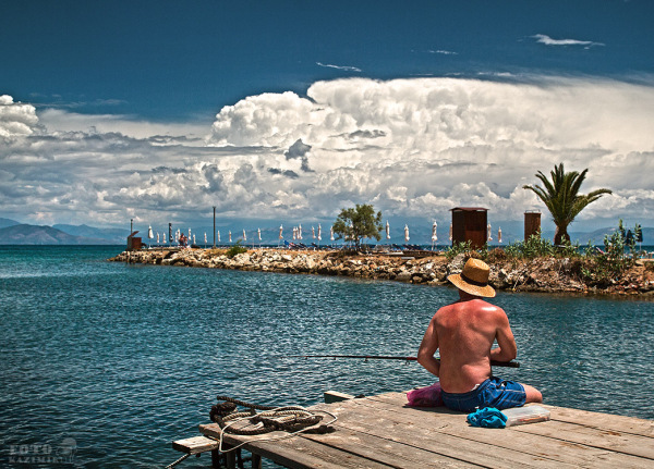 fisching, sea, sun, sky, clouds