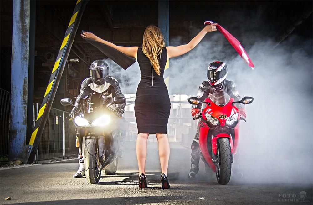 motorbike, girl, start, sport