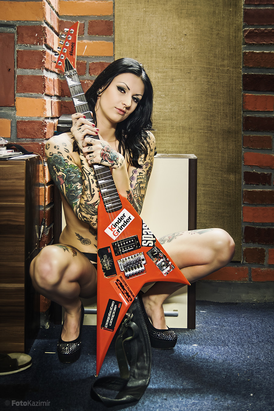 girl, tattoo, club, glamour, rock, guitar