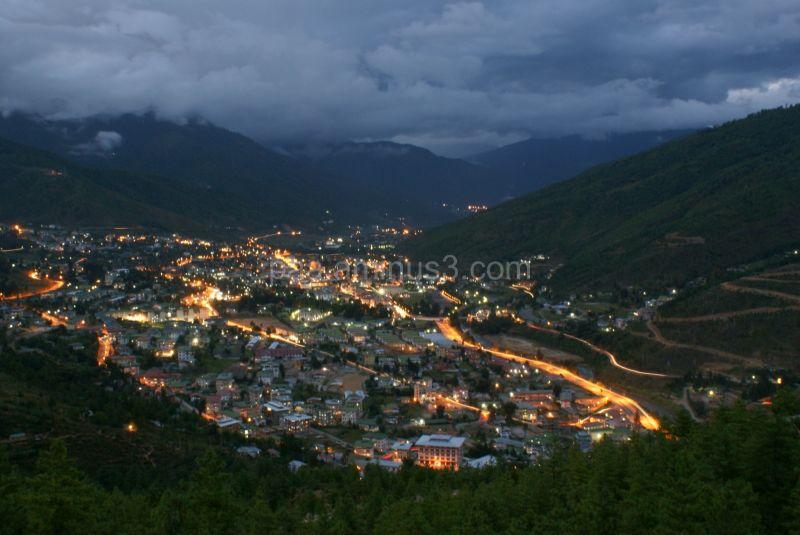 thimphu city at dusk
