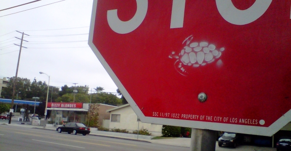 graffiti on stop sign