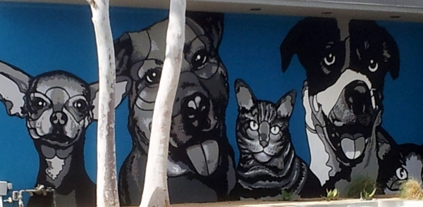 mural of dogs