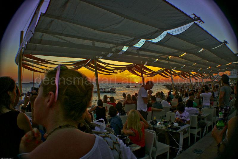 watching the sun set at cafe mambo, Ibiza.
