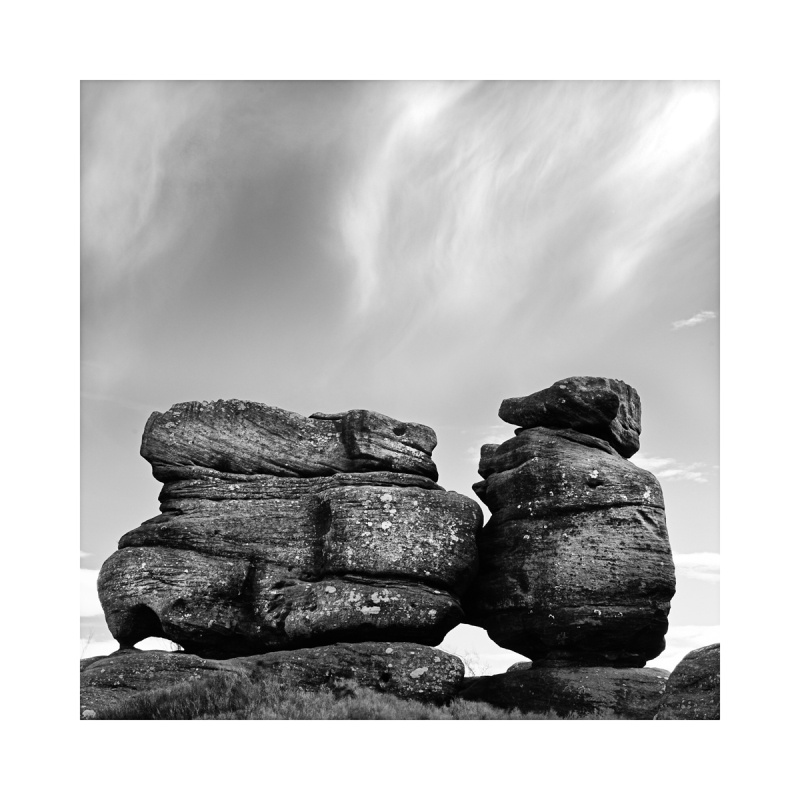 A black & white fine art photograph of rock format