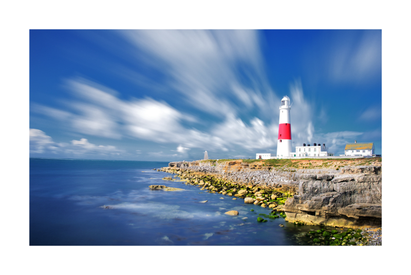 Bright colour image of Portland Bill Lighthouse