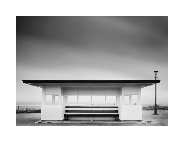 A shelter overlooking Bournemouth Beach