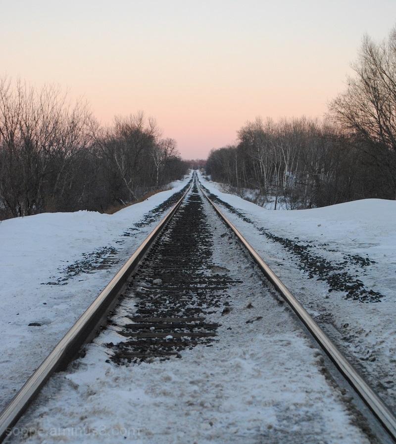 railway through the snow