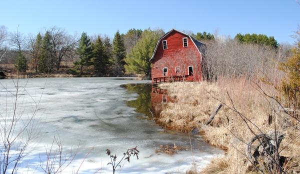 barn in early spring