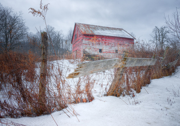 HDR image of red barn in Canaan Valley