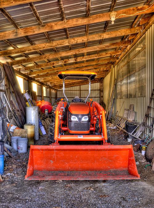 Tractor in Garage