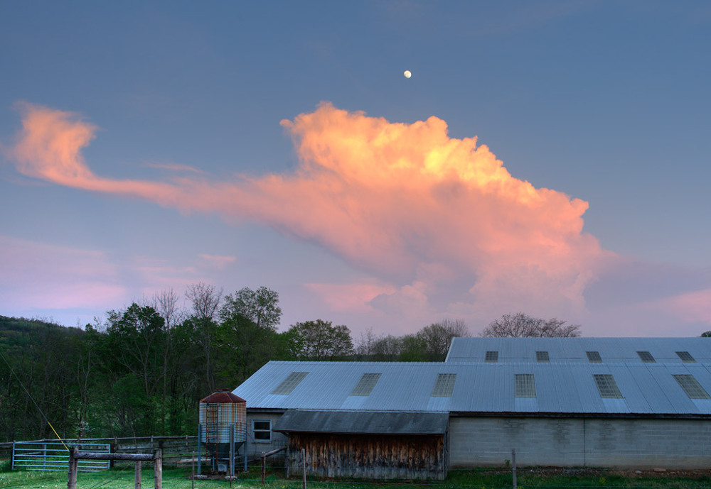 Moon and Clouds over Barn