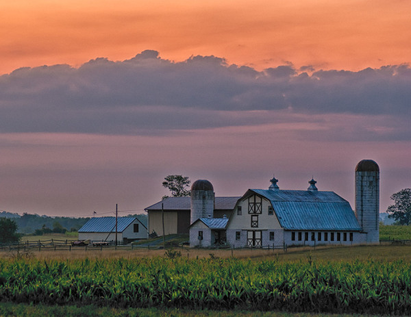 Sunrise, farm buildings