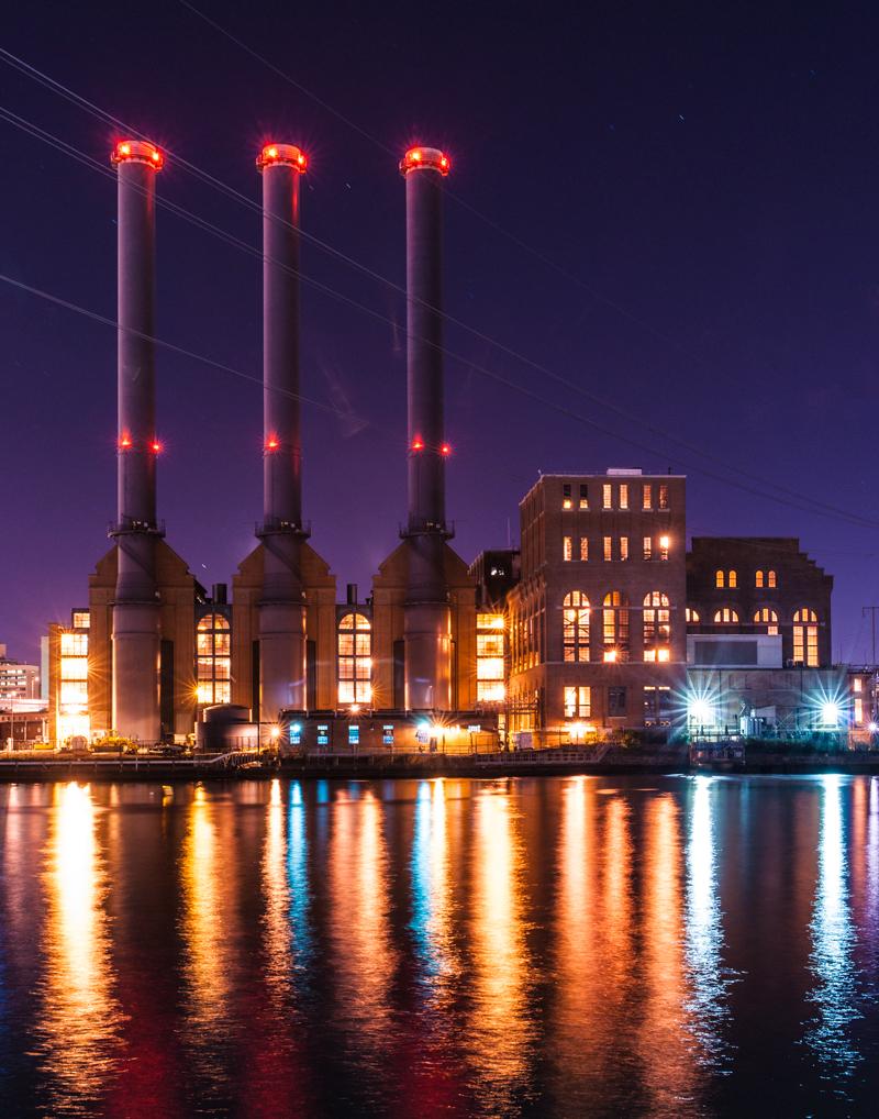 Power Station at Night, Providence, RI