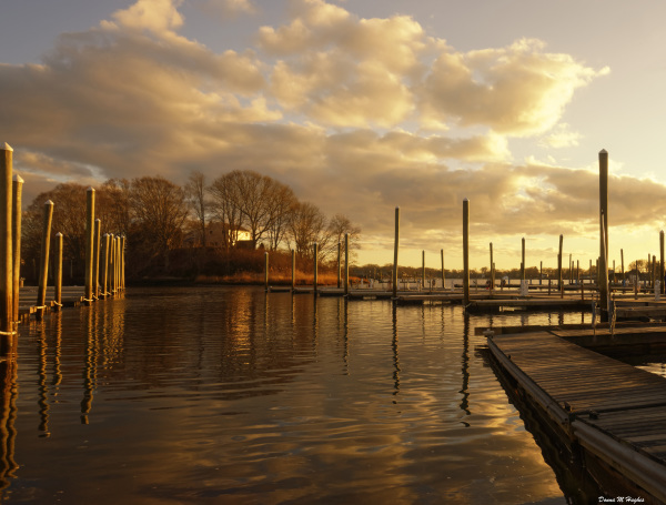 Empty Docks at Sunset, Stone Cove, Marina
