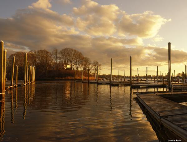 Empty Docks at Sunset, Stone Cove, Marina