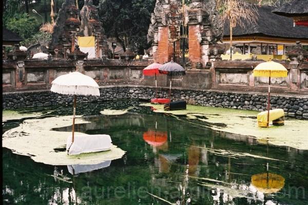 Color Umbrellas in a temple in Bali, Indonesia