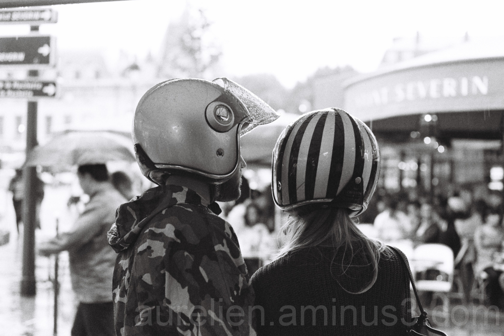 Couple with Helmet in Paris