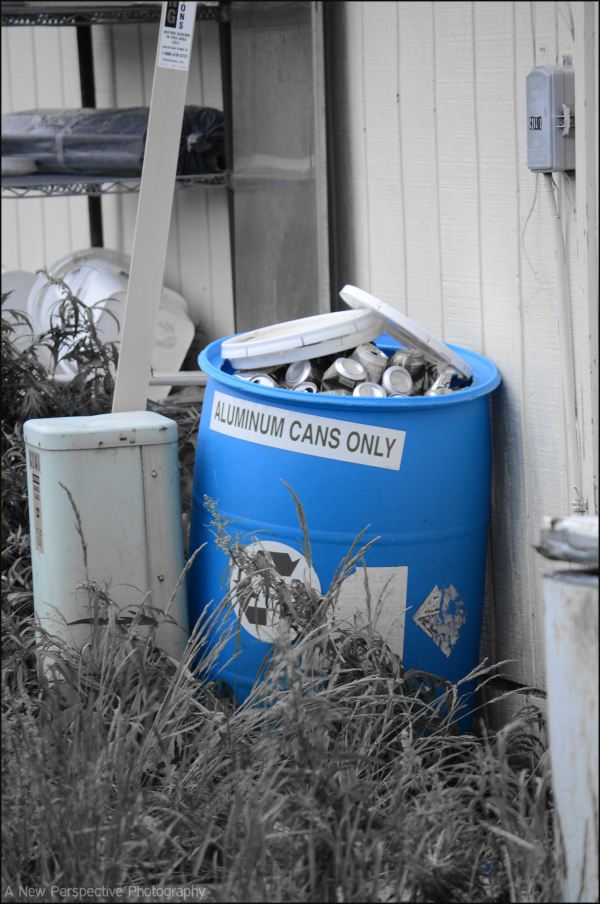 Recycle Bin outside of Dutch Harbor Fast Food