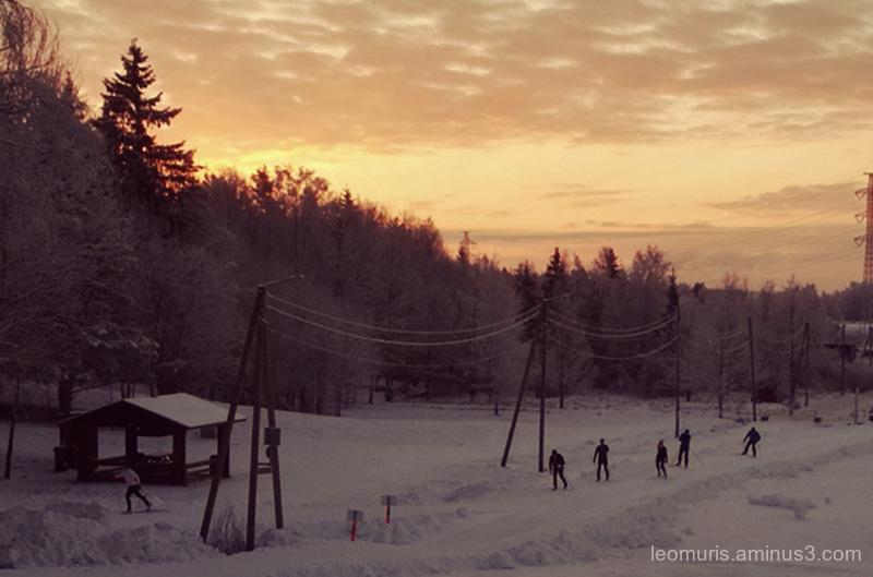 Skiers in the morning