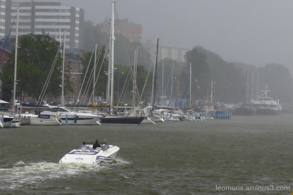 boats and rain