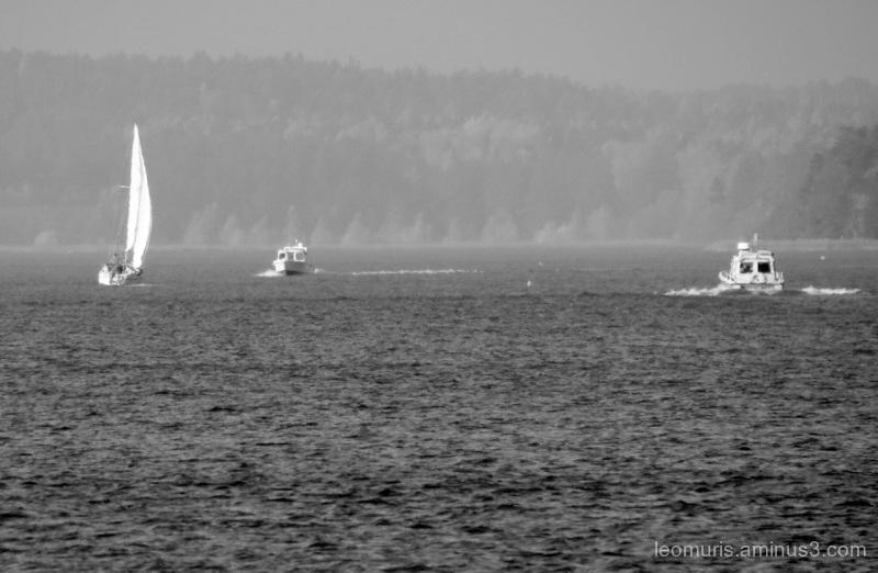 Sailboat, sea and autumn