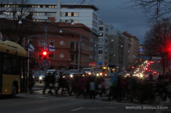 cars, lights, people..