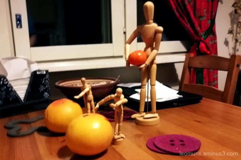 Three boys and fruits...