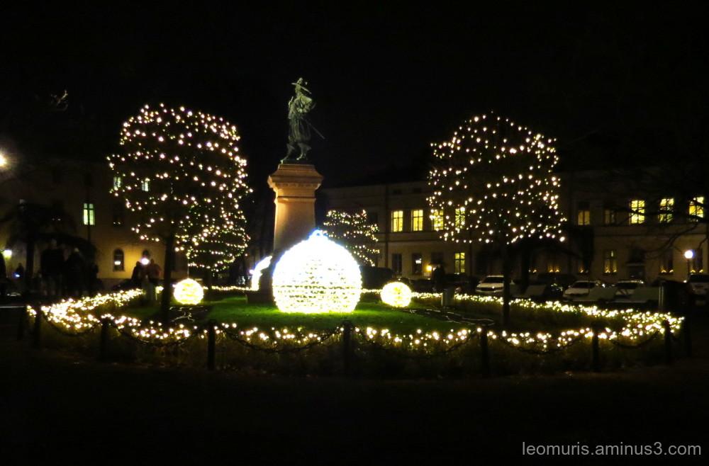 Lights on dark park