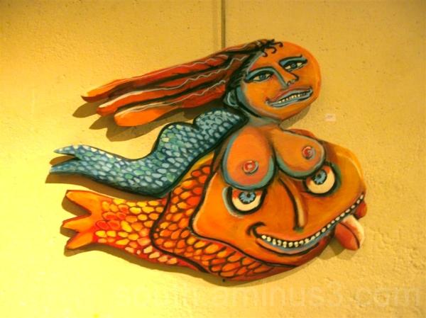art wood sculpture fish france colors woman tits m