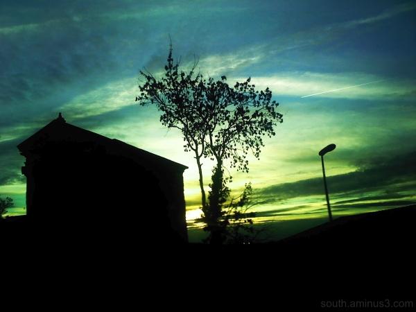 color sky tree green blue night house light