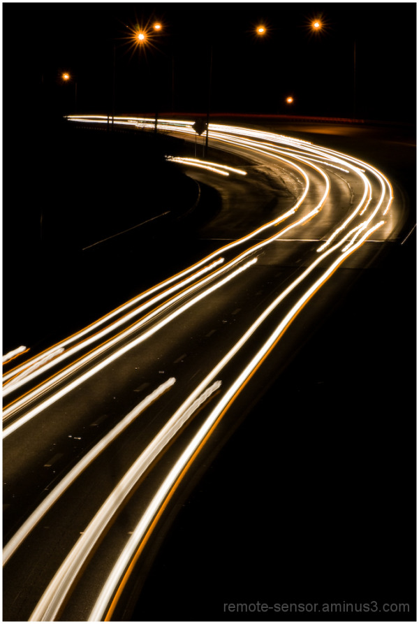 light trails on the interstate