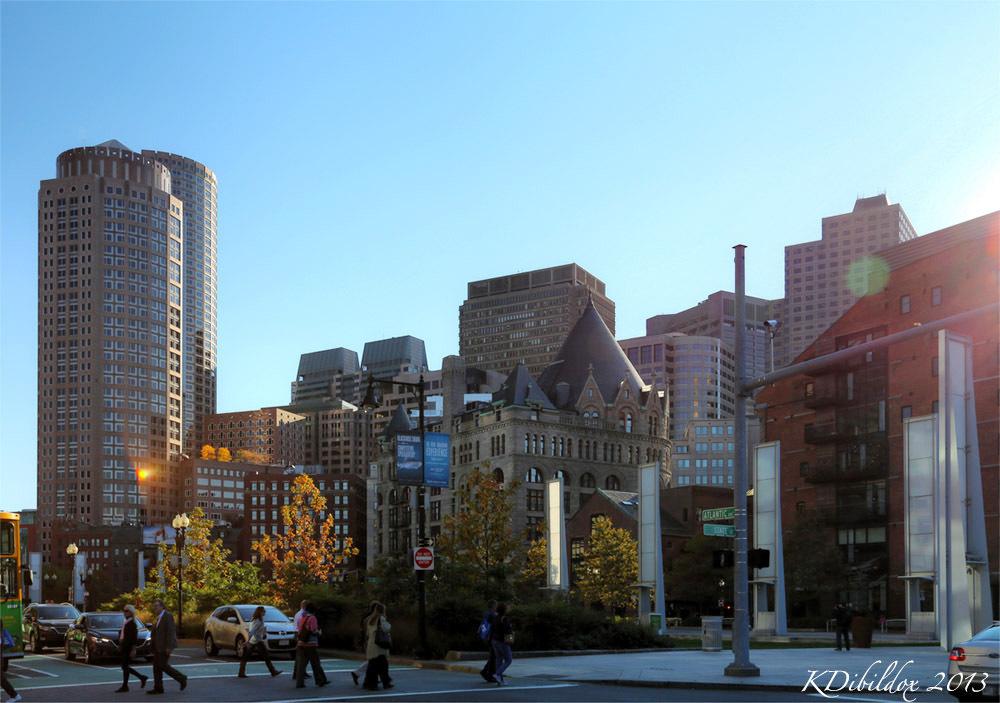 Boston skyline  in the fall