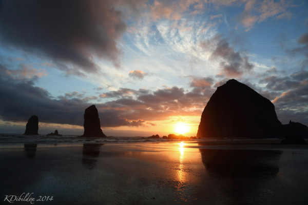 Sunset at Cannon Beach, on the Oregon Coast.