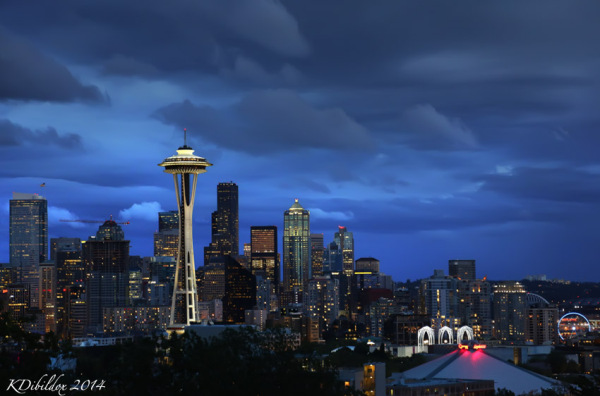 Seattle skyline just after sunset