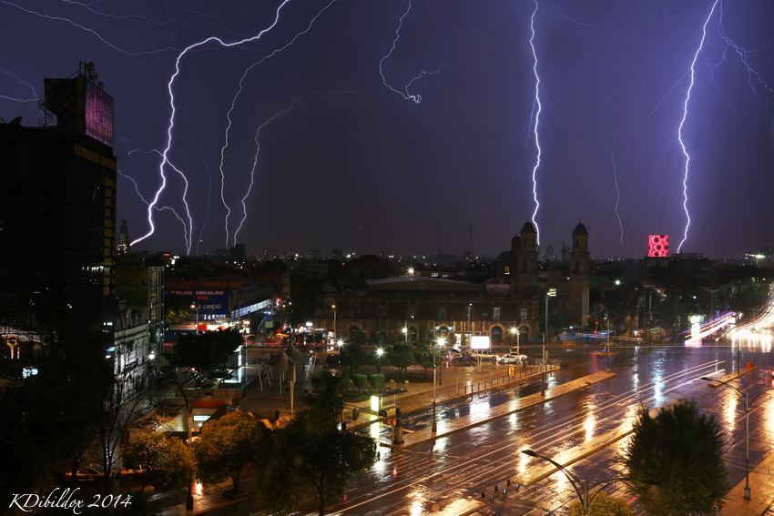 Lightning storm over Mexico City
